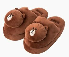 Line Friends Brown Women Slipper Kids Indoor Shoes Slippers Fun Cute Small Large