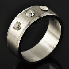 Stylish Men's Unisex White Gold Filled Clear CZ Promise Love Band Ring Size 8-11