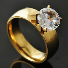 Trendy Womens Yellow Gold Filled Clear CZ Promise Love Band Ring Size 6-9