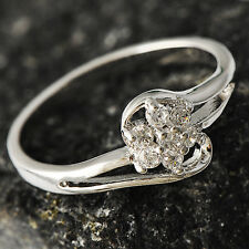 Exquisite Womens White Gold Filled CZ Flower Promise Love Band Ring Size 6,10