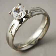 Classic Womens White Gold Filled Clear CZ Promise Love Band Ring Size 6-9