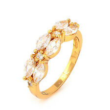 Fashion 18K Yellow Gold Plated Clear Marquise CZ Promise Love Band Ring