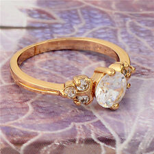 Fashion 18K Yellow Gold Plated Round Cubic Zirconia Promise Love Band Ring