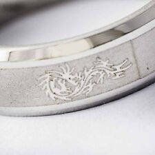 Dragon White Gold Filled /stainless steel Promise Love Band Ring Size 7-11