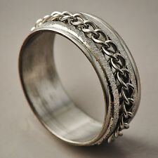 Handsome Men's White Stainless Steel link Band Promise Love Band Ring Size 8-11
