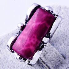 Mystic Purple Turquoise Ring Tibetan Silver Cocktail Womens Jewelry Size 7 8 9