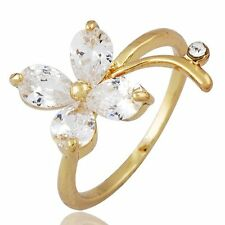 Fashion Yellow Gold Filled Womens Four Leaf Cubic Zirconia Ring Size 6 7 8 9