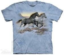"""HORSES """"RUNNING FREE"""" ADULT T-SHIRT THE MOUNTAIN"""