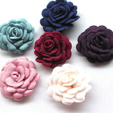 Upick 12/60PCS Felt Padded Ribbon Flowers Bows Peony Appliques Craft Mix A483