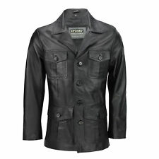 New Mens Black Real Leather 3/4 Mid Length Classic Vintage Military Style Jacket