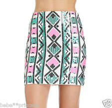 NWT bebe white pink green black colorblock sequin sexy dress skirt S M L XL hot