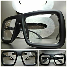 Mens Women OVERSIZE VINTAGE RETRO Style Clear Lens EYE GLASSES Matte Black Frame