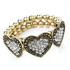 Diamante Chunky Heart Stretchy Bracelet in Gold or Silver Tone NEW