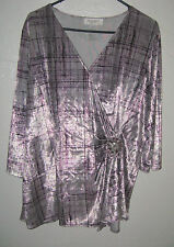 NINE WEST WOMAN JEWEL TOP 3/4 SLEEVE PURPLE GRAY STRIPES RAYON POLY BLEND 2X NEW
