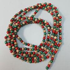 12 Ft. Strand Vintage Wood Beads Garland Red Green Natural Primitive Christmas
