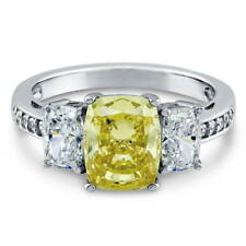 Silver 4.06 CT Cushion Canary Yellow CZ 3-Stone Promise Engagement Ring