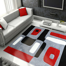 Black Red Hand Carved Area Rug Modern Geometric Shapes Blocks Abstract Carpet