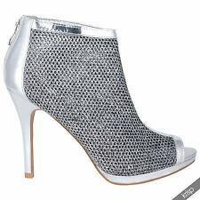 Women Sexy Fishnet Mesh Peep Toe Ankle Boots High Heel Shoes Pumps Booties Party