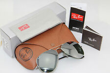 Genuine Ray Ban Aviator RB3025 W3277 Silver Frame Silver Mirror Unisex all size