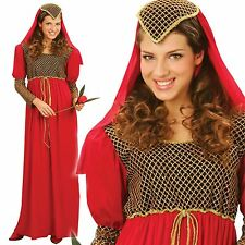 Ladies Red Medieval Juliet Princess Queen Womens Outfit Fancy Dress Costume