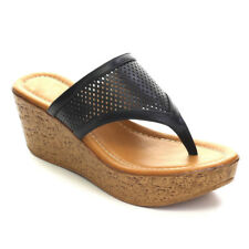 DBDK Women's Slip On Perforated Wedge Platform High Heel Thong Sandals ANGELA-8