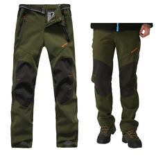Mens Soft Shell Waterproof Breathable Fleece Lined Outdoor Golf Hiking Trousers