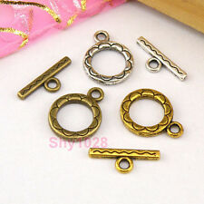 12Sets Tibetan Silver,Antiqued Gold,Bronze Circle Connector Toggle Clasps M1387
