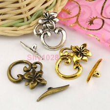 6Sets Tibetan Silver,Antiqued Gold,Bronze Flower Connector Toggle Clasps M1386