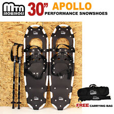 """New MTN WHITE All Terrain 30"""" Snowshoes + GOLD Nordic Pole + Free Carrying Bag"""