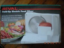 RIVAL ELECTRIC DELI STYLE FOOD MEAT SLICER Model 1042 WHITE FOLD-UP EASY STORAGE