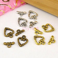 12Sets Tibetan Silver,Antiqued Gold,Bronze Heart Connector Toggle Clasps M1388