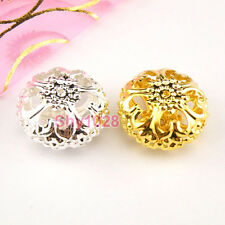 8Pcs Metal Silver Plated,Gold Plated Hollow Spacer Beads 13.5x24mm P1013