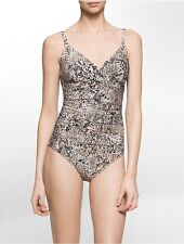 calvin klein womens snake print twist-front one-piece swimsuit