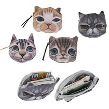 Children's Cute 3D Cat Face Zipper Case Coin Purse Wallet Makeup Bag Gift Pouch