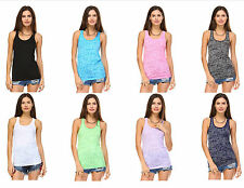 New Fashion Ladies Womens Burnout Workout Sleeveless Racerback Tank Top