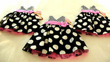 Toddler Girls Party Dress Black/White/Pink Pageant Dot Nannette 12Mo 18Mo 24Mo