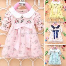 Baby Girls Princess Dress Kids Long Sleeve Floral Lace Bowknot Skirts Clothes