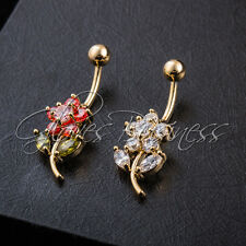 1pc Rhinestone Gold Plated Flower Navel Belly Button Ring Belly Body Jewelry