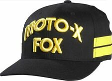 FOX RACING HALL OF FAME CAP hat flexfit old school motocross mx men BLACK YELLOW