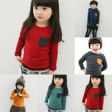 Kids Baby Boys Girls Outfit Long Sleeve T-shirt Pocket Decor Clothes G69