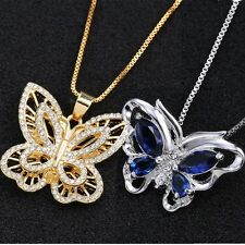 Gold/Silver Butterfly Sapphire Rhinestone Crystal Gifts Necklace Pendant Jewelry