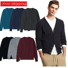 Casual Men's V-Neck Button Down Wool Cardigan Knitwear Sweater Knit Pullover
