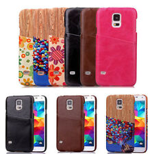 Luxury Soft Leather Style Card Holder Back Case For Samsung Galaxy S5 I9600/Mini