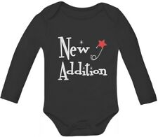 New Addition Baby Grow Vest Cute New Born Bodysuit Gift Baby Long Sleeve Onesie