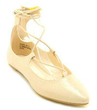 Gold Shimmering Pointy toe Ballet Flats Lace up Women's shoes