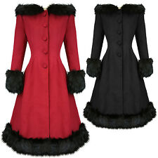 Hell Bunny Elvira Dramatic Statement Long Hooded Vintage Fur Collar Winter Coat