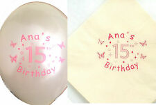 Personalised Helium Balloons and Matching Printed Paper Napkins Set