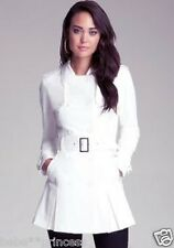 NWT bebe cream white belt pleat flare top dress coat trench jacket large L sexy