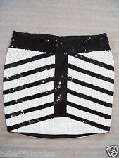 NWT bebe black white sequin striped contrast dress mini skirt party L large 10