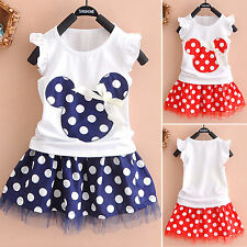Kids Baby Girls Minnie Mouse Dresses Vest Skirt Tops Skirt Set 1-4 Years Outfit